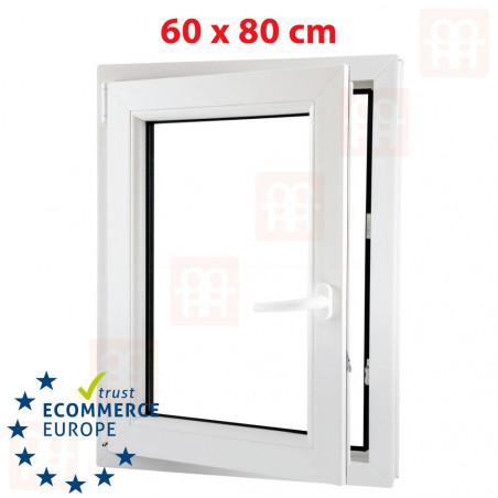Kunststofffenster | 60x80 cm (600x800 mm) | weiß | dreh-kipp | links | 6 Kammern