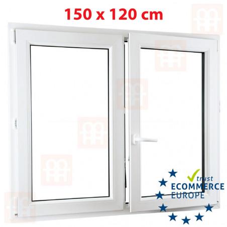 Kunststofffenster | 150x120 cm (1500x1200 mm) | weiß | Zweiflügelige ohne Pfosten | rechts | 6 Kammern