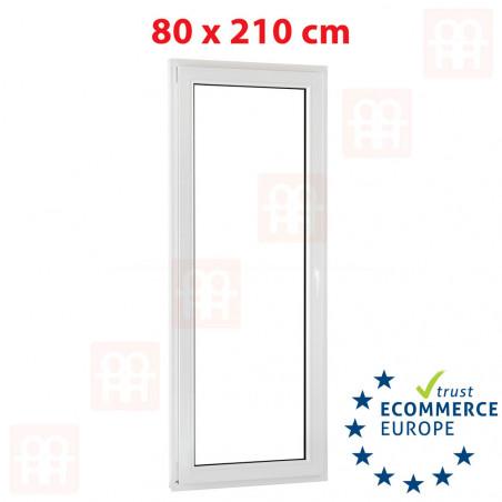 Kunststofftür | 80 x 210 cm (800 x 2100 mm) | weiß | Balkontüren | Dreh-Kipp | links | 5 Kammern