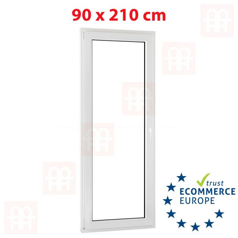 Kunststofftür | 90 x 210 cm (900 x 2100 mm) | weiß | Balkontüren | Dreh-Kipp | links | 5 Kammern