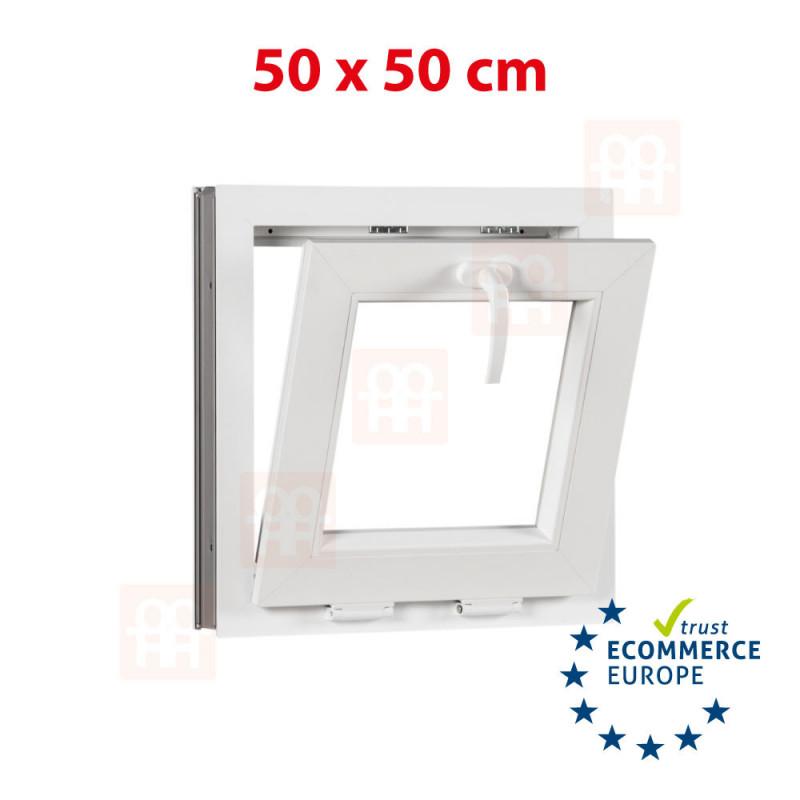 Kunststofffenster   50x50 cm (500x500 mm)   weiß   Kipp-Fenster   6 Kammern