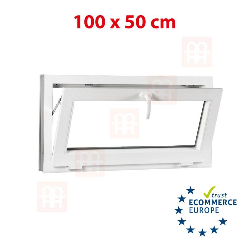 Kunststofffenster   100x50 cm (1000x500 mm)   weiß   Kippfenster   6 Kammern