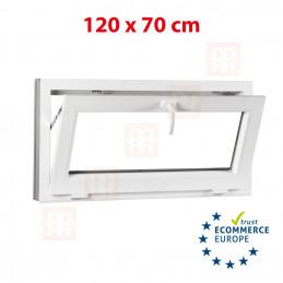 Kunststofffenster | 120x70 cm (1200x700 mm) | weiß | Kipp-Fenster | 6 Kammern