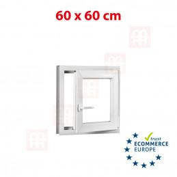 Kunststofffenster | 60 x 60 cm (600 x 600 mm) | weiß| dreh-kipp | rechts | 6 Kammern