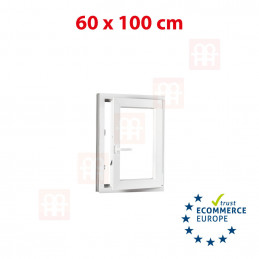 Kunststofffenster | 60x100 cm (600x1000 mm) | weiß | Dreh-Kipp-Fenster | rechts | 6 Kammern