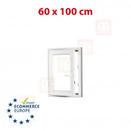 Kunststofffenster | 60x100 cm (600x1000 mm) | weiß | Dreh-Kipp-Fenster | links | 6 Kammern