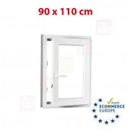 Kunststofffenster | 90x110 cm (900x1100 mm) | weiß | Dreh-Kipp-Fenster | rechts | 6 Kammern