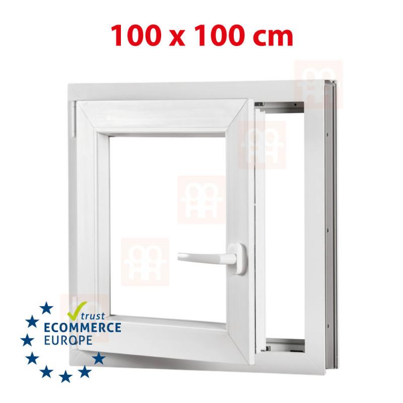 Kunststofffenster | 100x100 cm (1000x1000 mm) | weiß | Dreh-Kipp-Fenster | links | 6 Kammern