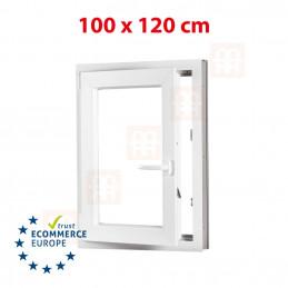 Kunststofffenster | 100x120 cm (1000x1200 mm) | weiß | Dreh-Kipp-Fenster | links | 6 Kammern