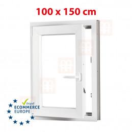 Kunststofffenster | 100x150 cm (1000x1500 mm) | weiß | Dreh-Kipp-Fenster | links | 6 Kammern