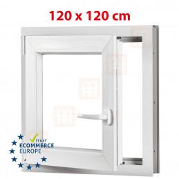 Kunststofffenster | 120x120 cm (1200x1200 mm) | weiß | Dreh-Kipp-Fenster | links | 6 Kammern