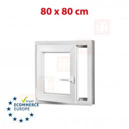 Kunststofffenster | 80x80 cm (800x800 mm) | weiß | Dreh-Kipp-Fenster | links | 6 Kammern