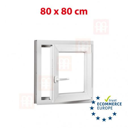 Kunststofffenster | 80x80 cm (800x800 mm) | weiß | Dreh-Kipp-Fenster | rechts