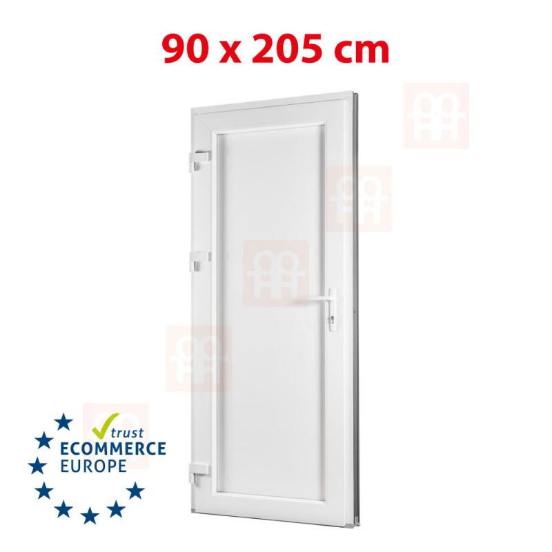 Nebeneingangstür | 90x205 cm (900x2050 mm) | weiß | Füllungsplatte 24 mm | links