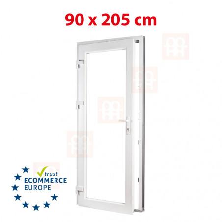 Kunststofftür   90x205 cm (900x2050 mm)   weiß   2-fach-Isolierglas  links