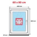 Kunststofffenster   60x80 cm (600x800 mm)   weiß  dreh-kipp   links   6 Kammern