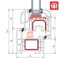 Kunststofffenster | 55x55 cm (550x550 mm) | weiß | Dreh-Kipp-Fenster | rechts | 6 Kammern